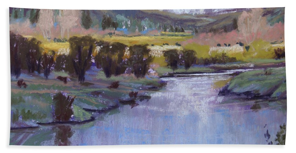 River Hand Towel featuring the pastel Wyoming River by Heather Coen