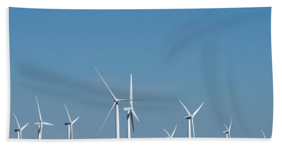 Wyoming Wind Farm Wyoming Wind Power Clean Renewable Energy Blue Sky Wind Turbines North American Wind Power Wyoming Landscapes North American Landscapes Hand Towel featuring the photograph Wyoming Wind Farm by Joshua Bales