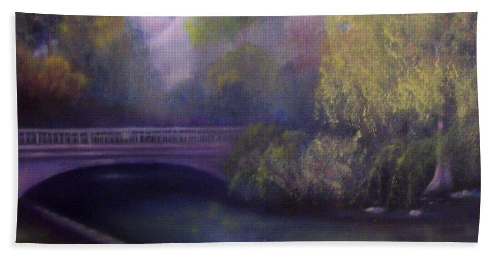 Bridge Bath Sheet featuring the painting Wyomissing Creek Misty Morning by Marlene Book