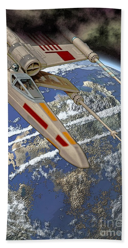 Star Wars Bath Sheet featuring the photograph 10105 X-wing Starfighter by Colin Hunt