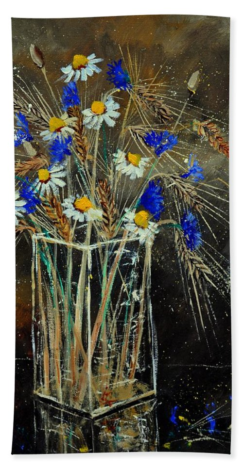 Flowers Bath Sheet featuring the painting Xav's bunch by Pol Ledent