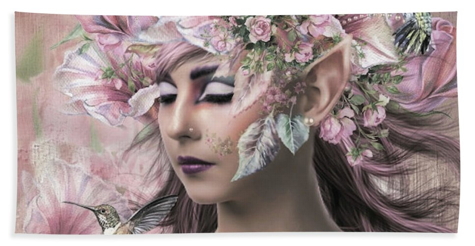 Fairy Bath Towel featuring the mixed media Fairy's Magical Garden 02 by G Berry