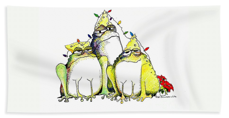 Christmas Card Bath Towel featuring the greeting card Xmas Lights by Pat Saunders-White