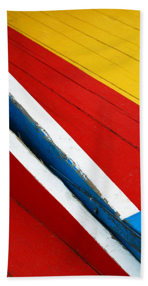 Red Bath Towel featuring the photograph Xochimilco Boat Abstract 1 by Skip Hunt