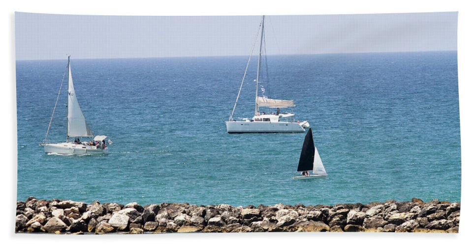 Leisure Hand Towel featuring the photograph yacht sailing in the Mediterranean sea by Vladi Alon