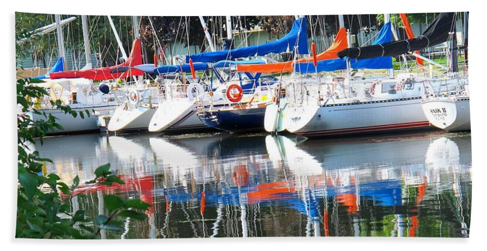 Boat Bath Towel featuring the photograph Yachts At Rest by Ian MacDonald