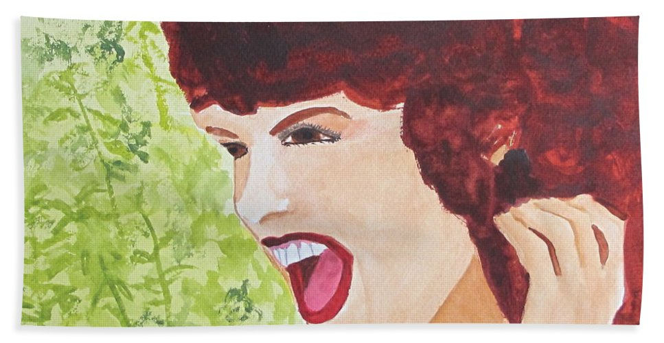 Woman Hand Towel featuring the painting Yah by Sandy McIntire