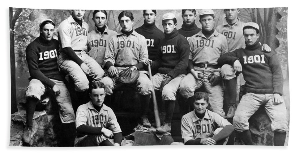 1901 Hand Towel featuring the photograph Yale Baseball Team, 1901 by Granger