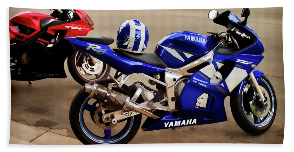 Sport Bike Hand Towel featuring the photograph Yamaha Yzf-r6 Motorcycle by Joann Copeland-Paul