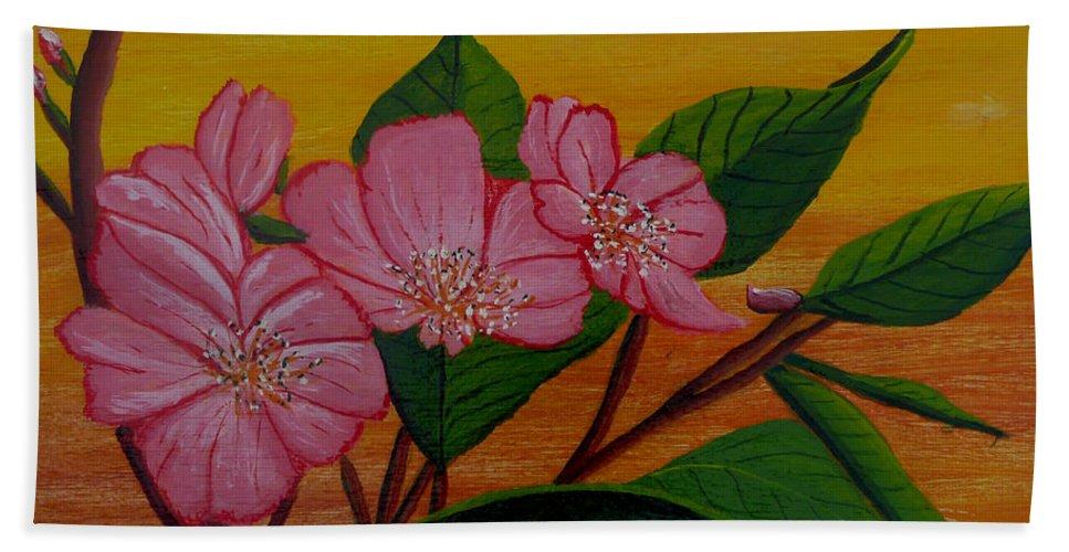 Yamazakura Bath Sheet featuring the painting Yamazakura Or Cherry Blossom by Anthony Dunphy