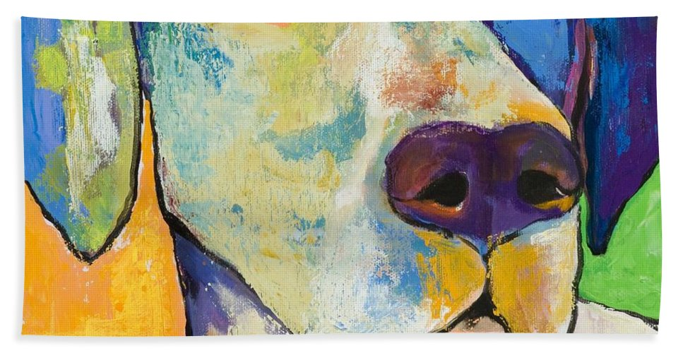 German Shorthair Animalsdog Blue Yellow Acrylic Canvas Bath Sheet featuring the painting Yancy by Pat Saunders-White