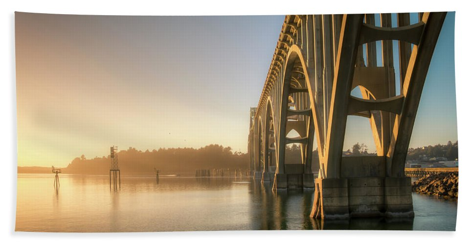 Architecture Bath Sheet featuring the photograph Yaquina Bay Bridge - Golden Light 0634 by Kristina Rinell