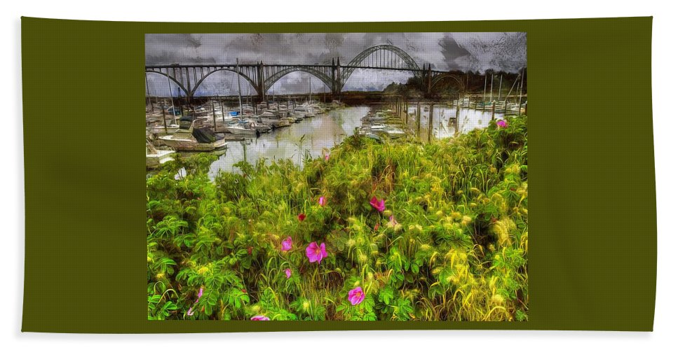 Yaquina Bay Bath Sheet featuring the photograph Yaquina Bay Roses by Thom Zehrfeld