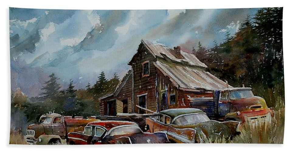 Cars Barn Wrecks Hand Towel featuring the painting Yardmates by Ron Morrison