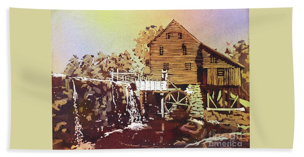 Clouds Hand Towel featuring the painting Yates Mill Park by Ryan Fox