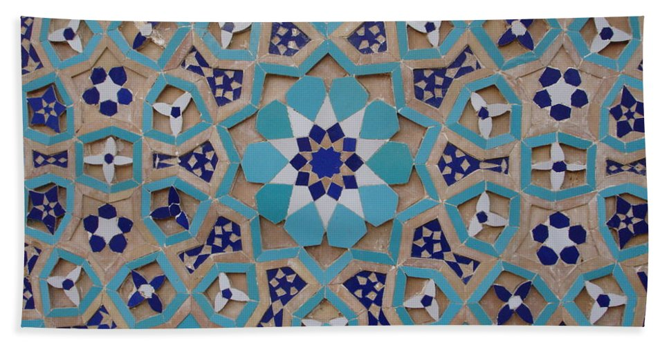 Mosaic Hand Towel featuring the photograph Yazd - Blue Mosaic by Sonja Rohde
