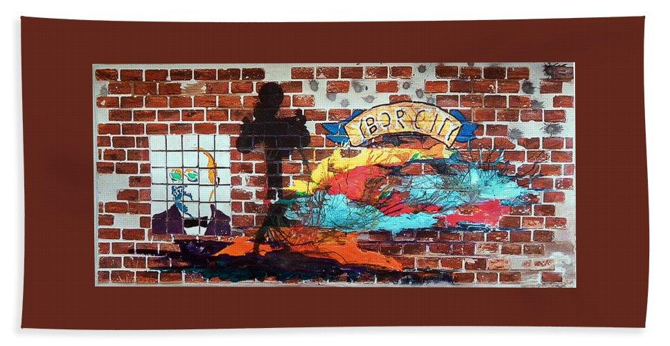 Brick Bath Sheet featuring the mixed media Ybor City by Herman Cerrato