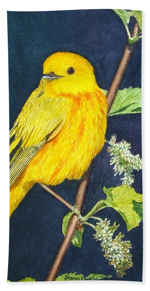Bird Hand Towel featuring the painting Yelllow Warbler by Sharon Farber