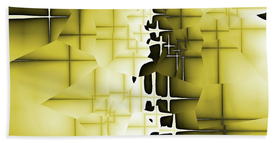 Abstract Bath Sheet featuring the digital art Yellow And Black 4 by Jack Bowman