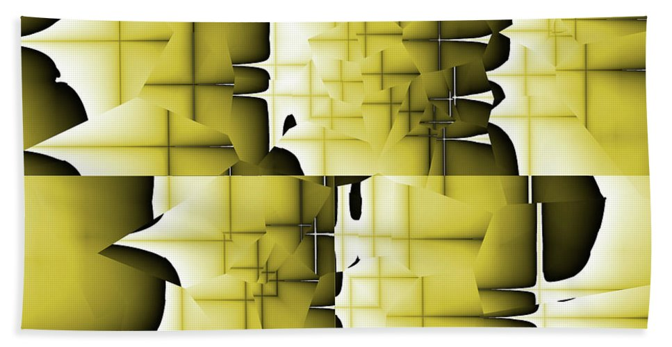 Abstract Bath Sheet featuring the digital art Yellow And Black 6 by Jack Bowman