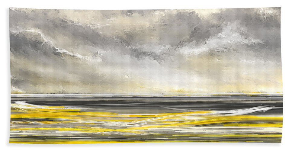 Yellow Bath Sheet featuring the painting Yellow And Gray Seascape Art by Lourry Legarde