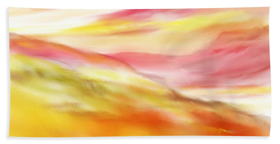 Digital Art Hand Towel featuring the digital art Yellow And Red Landscape by David Lane