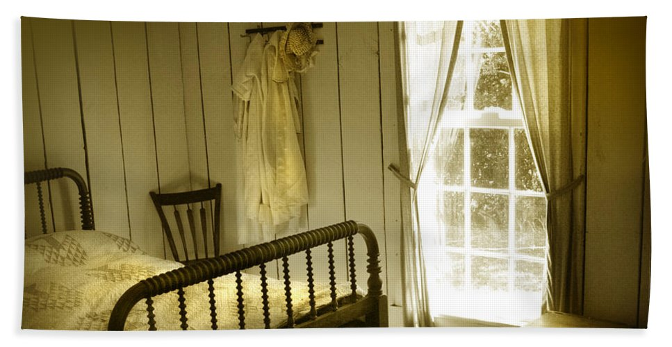 Bedroom Hand Towel featuring the photograph Yellow Bedroom Light by Mal Bray