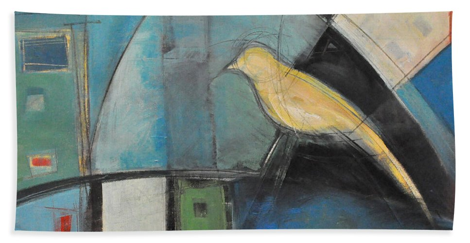 Bird Hand Towel featuring the painting Yellow Bird by Tim Nyberg
