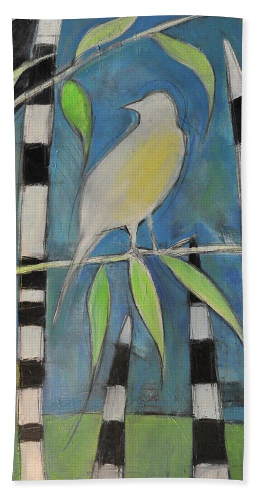 Bird Bath Sheet featuring the painting Yellow Bird Up High... by Tim Nyberg