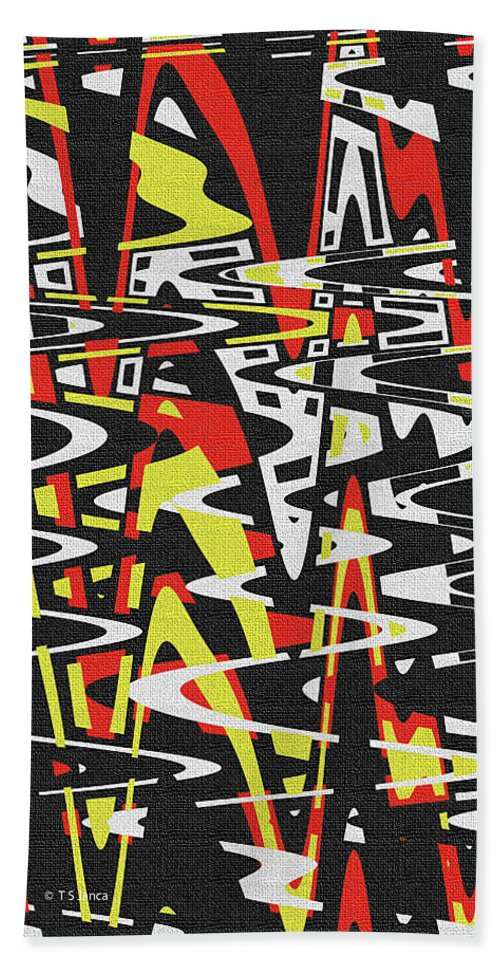 Yellow Black Red White Drawing Abstract Hand Towel featuring the photograph Yellow Black Red White Drawing Abstract by Tom Janca