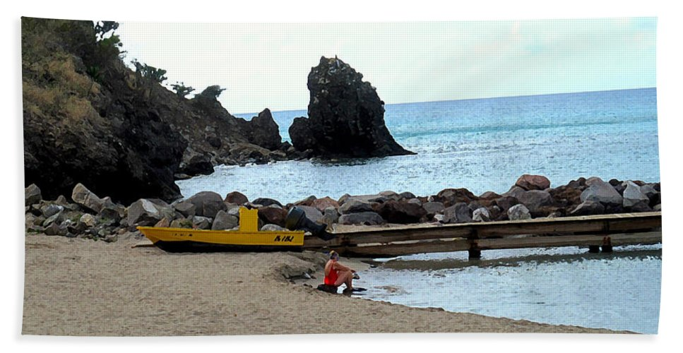 Beach Hand Towel featuring the photograph Yellow Boat On The Beach by Ian MacDonald