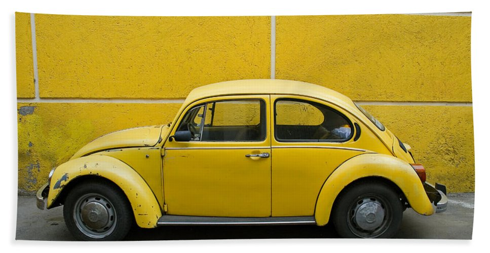 Yellow Bath Towel featuring the photograph Yellow Bug by Skip Hunt