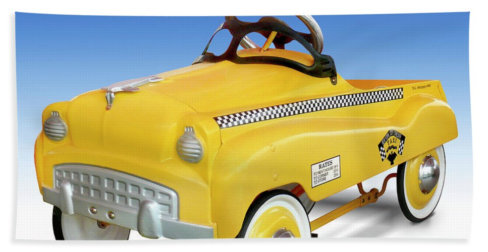 Yellow Cab Hand Towel featuring the photograph Yellow Cab Peddle Car by Mike McGlothlen
