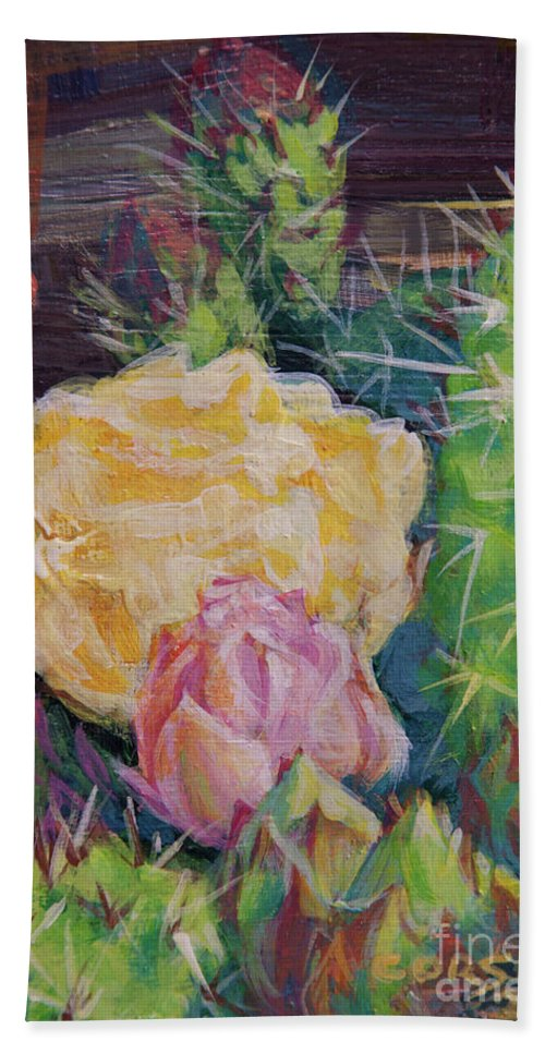 Flower Bath Sheet featuring the painting Yellow Cactus Flower by Rob Corsetti