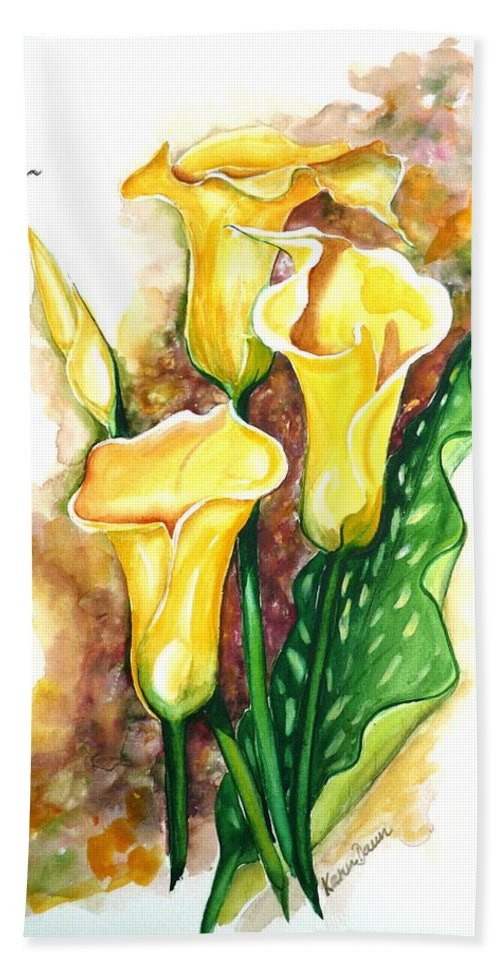 Flower Paintings Floral Paintings `yellow Flower Paintings  Lily Paintings Calla Lily Paintings  Botanical Paintings Greeting Card Paintings Canvas Print Paintings Poster Print Paintings Bath Towel featuring the painting Yellow Callas by Karin Dawn Kelshall- Best