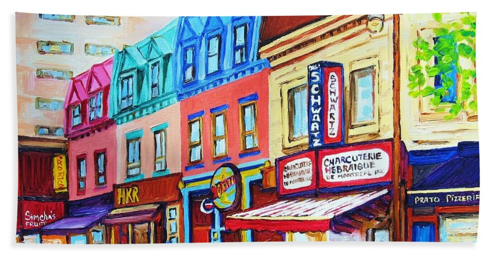 Reastarant Bath Sheet featuring the painting Yellow Car At The Smoked Meat Lineup by Carole Spandau