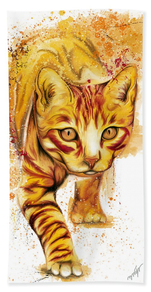 Yellow Cat Hand Towel featuring the digital art Yellow Cat by Nadia CHEVREL