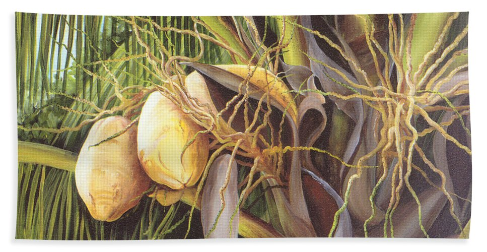Yellow Coconuts Hand Towel featuring the painting Yellow Coconuts From The Tropics by Dominica Alcantara
