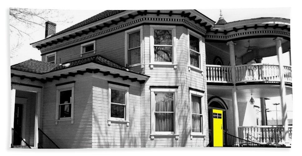 House Hand Towel featuring the digital art Yellow Door by Will Borden