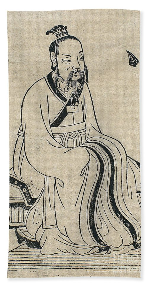 Science Hand Towel featuring the photograph Yellow Emperor, Legendary Chinese by Wellcome Images