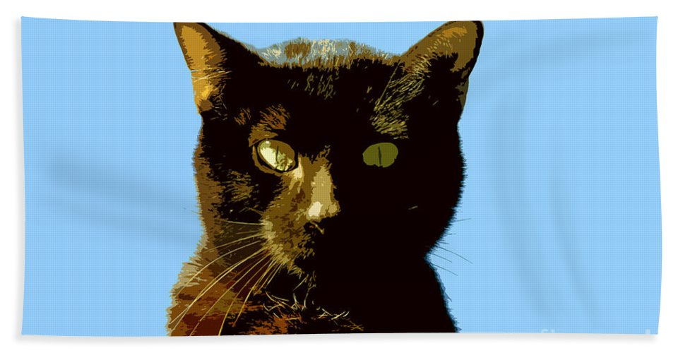 Cat Hand Towel featuring the painting Yellow Eyes by David Lee Thompson