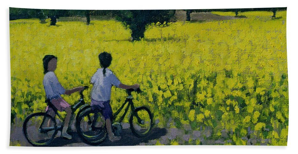 Rapeseed Hand Towel featuring the painting Yellow Field by Andrew Macara
