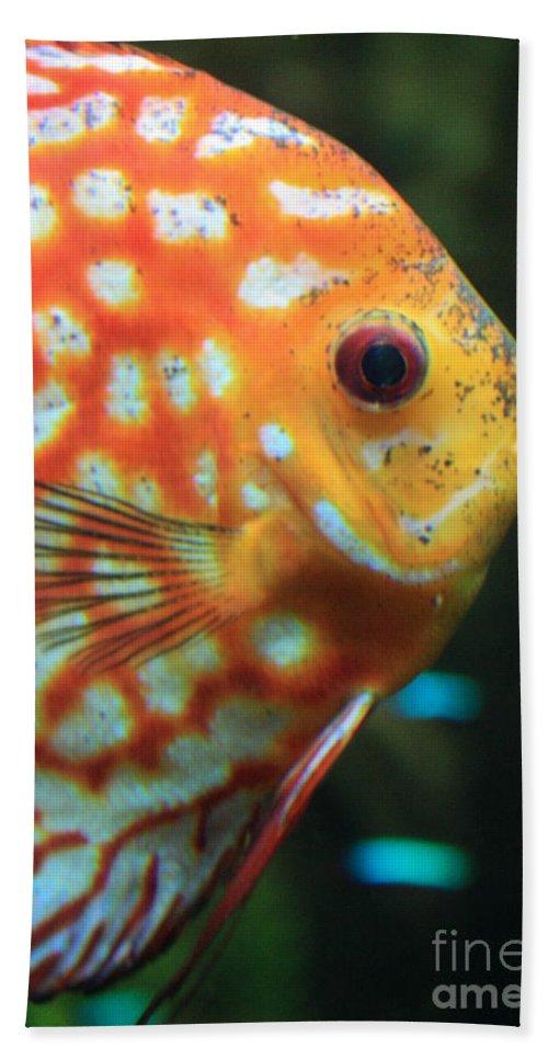 Carols Cards Bath Sheet featuring the greeting card Yellow Fish Profile by Carol Groenen