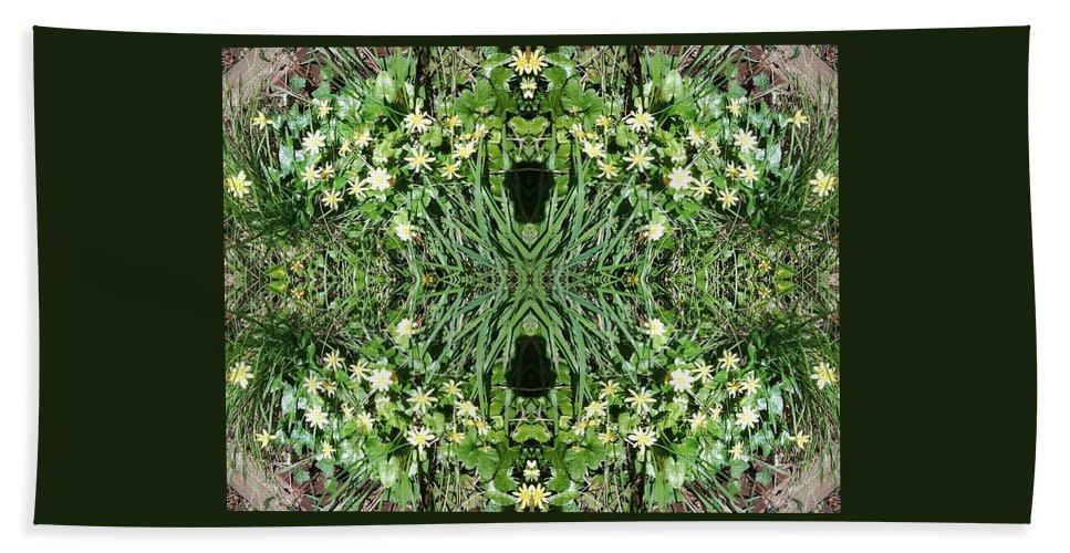 Floral Bath Sheet featuring the photograph Yellow Flower Mandala 1 by Julia Woodman