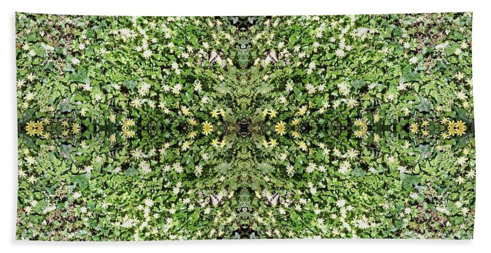 Yellow Bath Sheet featuring the photograph Yellow Flower Mandala 2 by Julia Woodman