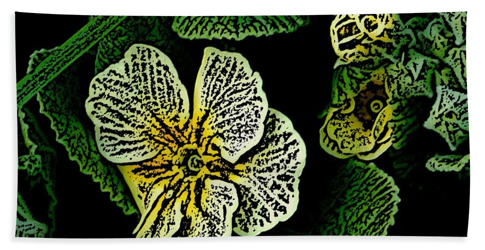Floral Bath Sheet featuring the digital art Yellow Flower Woodcut by David Lane