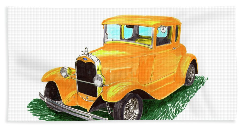 A Watercolor Painting By Jack Pumphrey Of A 1930-ish Yellow Ford Coupe Hand Towel featuring the painting 1932 Yellow Ford Hot Rod Coupe by Jack Pumphrey