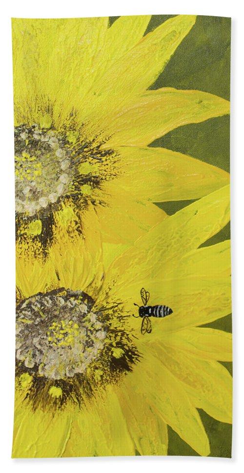 Yellow Gazanias Bath Sheet featuring the painting Yellow Gazanias And Bee by Deborah Christensen