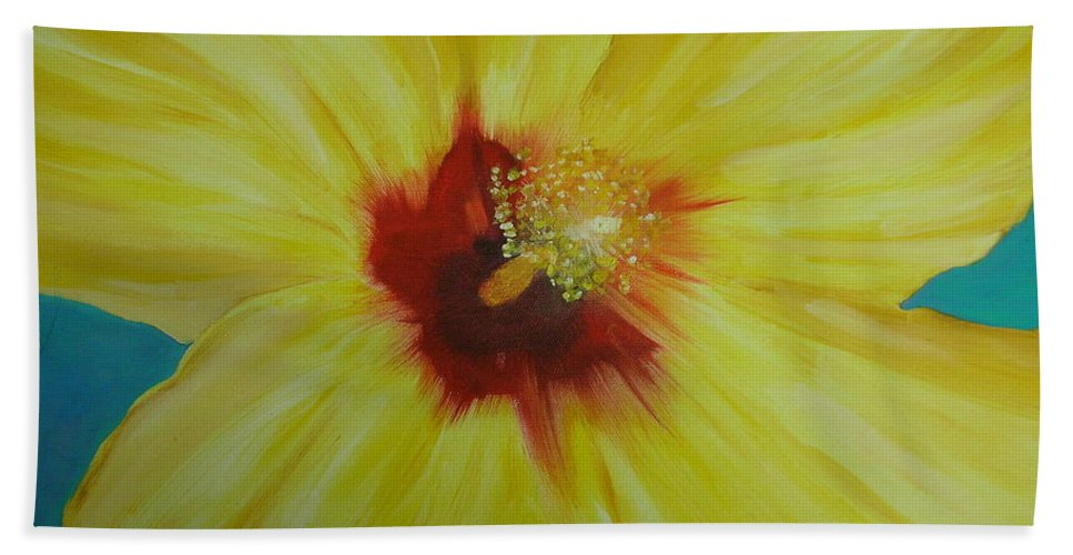 Flower Bath Sheet featuring the print Yellow Hibiscus by Melinda Etzold