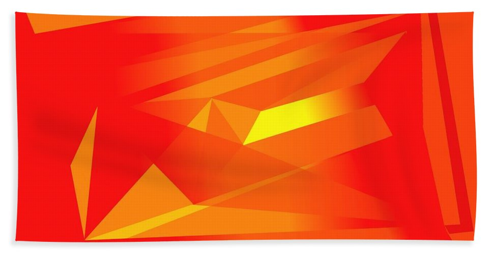 Red Bath Sheet featuring the digital art Yellow In Red by Helmut Rottler